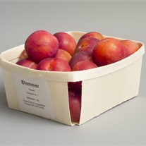 plums - wooden tray